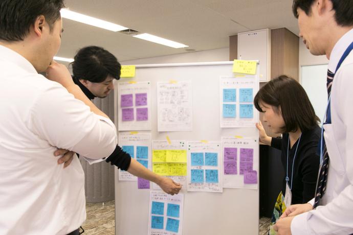 軸がぶれないように方向性を確認しながら、アイデアを肉づけする各チーム