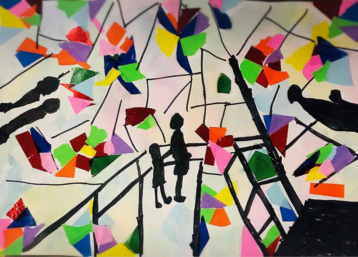巨大万華鏡に入った時の様子を 折り紙で貼り絵と絵の具で表現