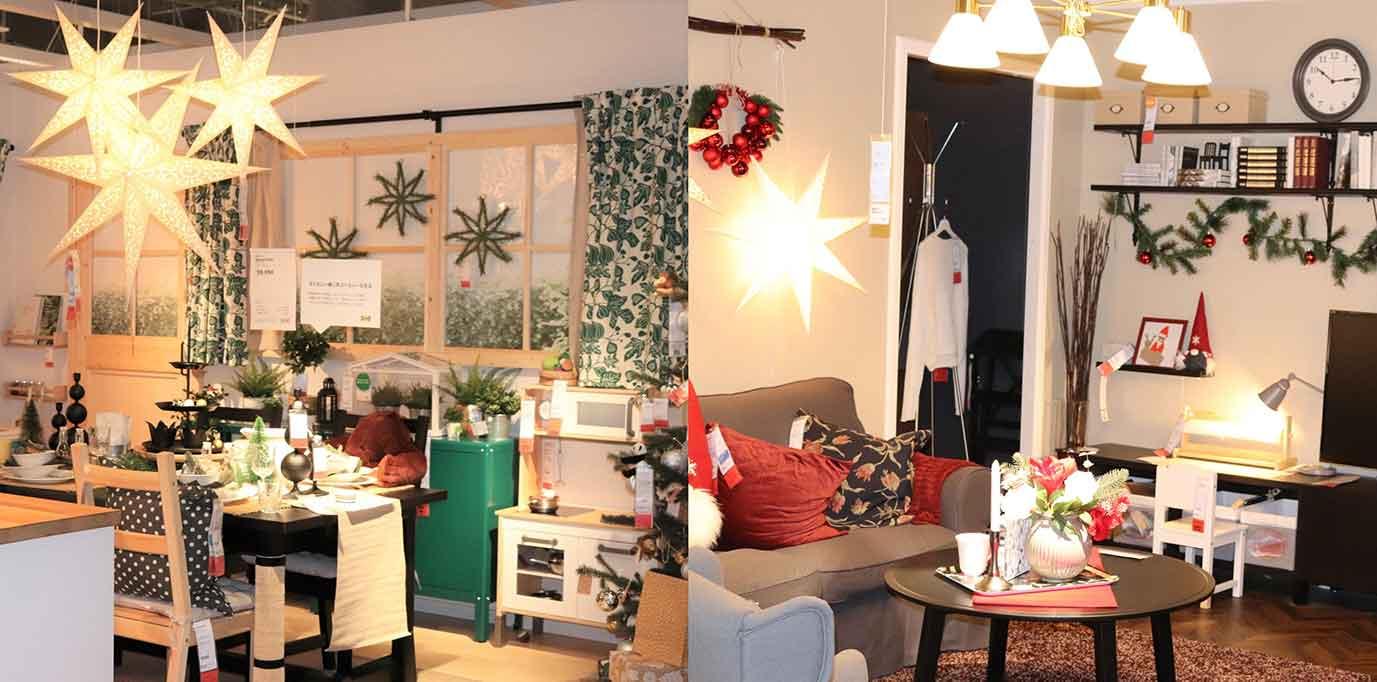 クリスマスのお部屋のコーディネートの一例。
