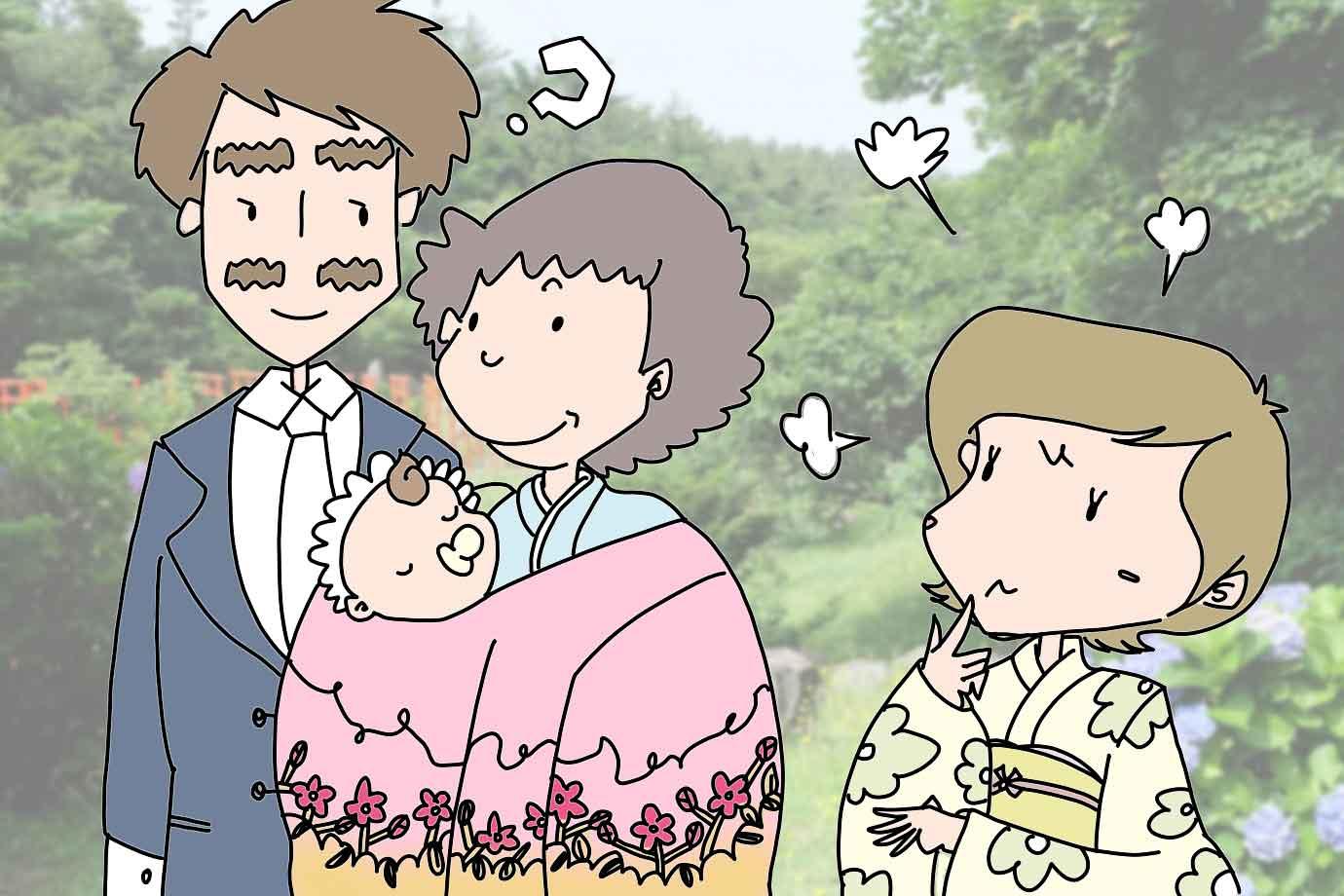 古くからの習わしでは、赤ちゃんは姑(父方の母)が抱くことが一般的でした
