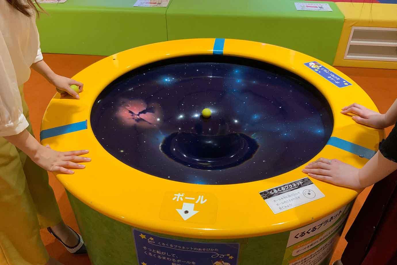 くるくるプラネットは中央が凹んだ卓にボールを転がし入れると、大きく楕円を描きながら穴へと落ちていきます